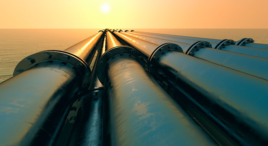 Pipelines in sunset