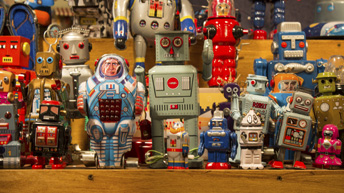 Stand of toy robots